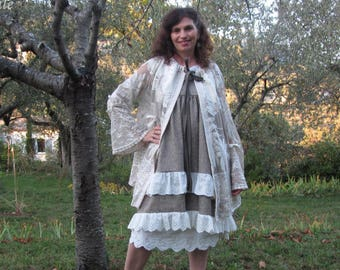 Vintage Ecru lace and beige waistcoat romantic, shabby chic, gypsy