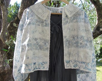 Jacket silky white and blue with antique lace, shabby chic and romantic