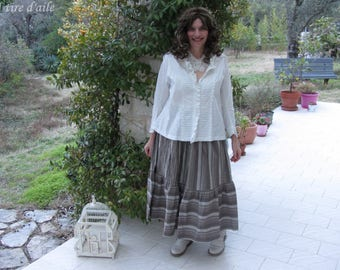 Skirt long striped and 1 ruffle, style Magnolia
