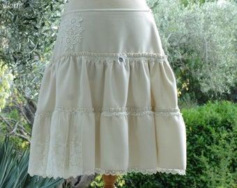 Skirt Ecru ruffle with lace, romantic, shabby chic and boho
