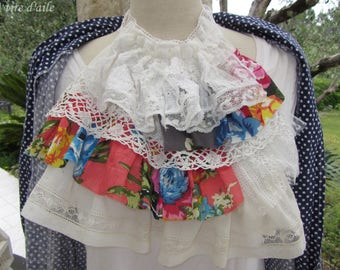 Beautiful Ascot or jabot with old cotton lace floral, romantic and shabby chic
