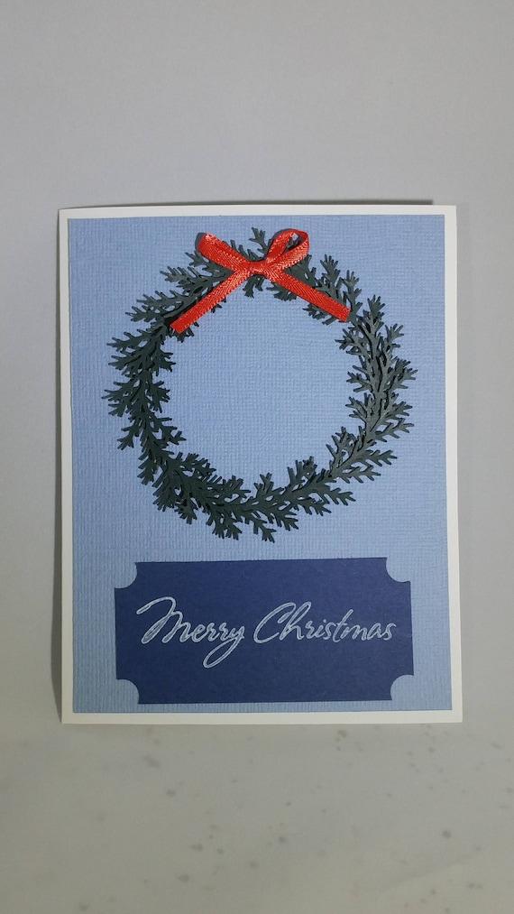 Wreath Christmas Card | Etsy