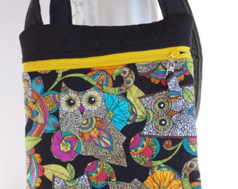Owl cross body shoulder bag quilted purse