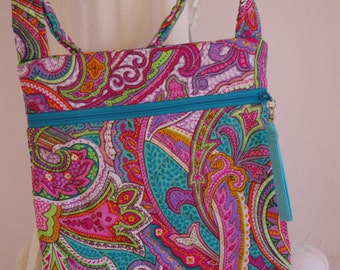 Cross body shoulder bag quilted paisley pink turquoise purse