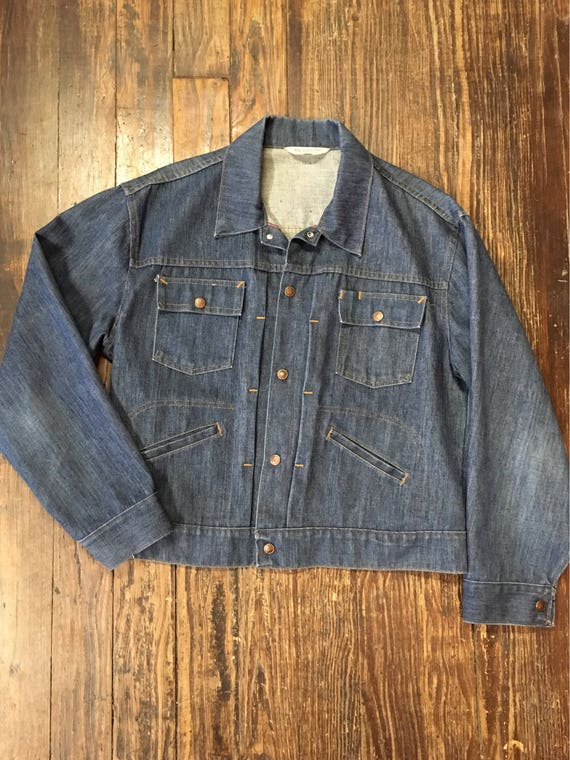 Vintage JC Penneys super denim indigo pleated selv