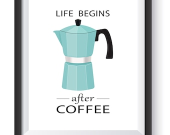 Coffee Wall Art- Coffee Poster, Kitchen Wall Decor Life Begins After Coffee