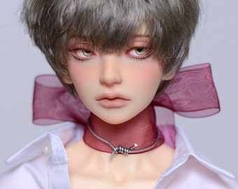 Thorn - SD17 BJD Silver Choker Necklace With Maroon Gauze Ribbon