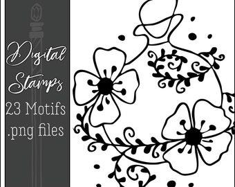 Floral Potions Motifs Digital Stamps
