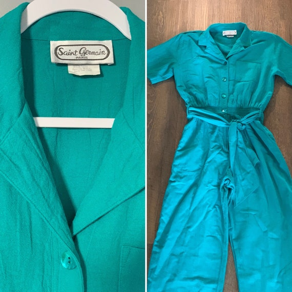 "Vintage 1980s ""Saint Germain"" Teal Cotton Jumpsuit"