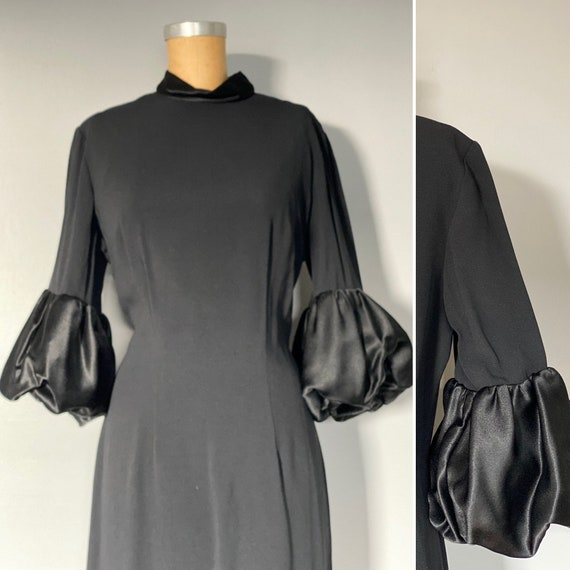 Vintage 1940s/50s Black Rayon Dress with Puff Wris
