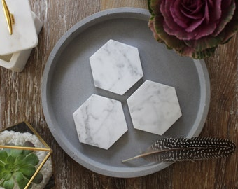 Carrara Marble Coasters - Hexagon