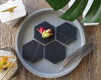 Nero Marquina Marble Geometric Coasters (set of 4)