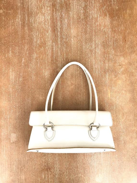 Vintage White Prune Leather Handbag