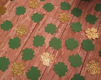 St Patrick Day Clover and Gold Coin ~ Shamrock Party Table Confetti ~ Unique Ideas for Saint Paddy's Decoration ~ Irish Four Leaf Clover