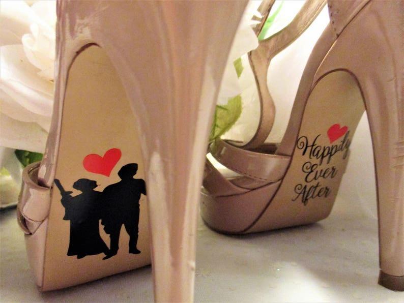 Star Wars inspired bride and groom shoe stickers I love you I  dc5c595fdb6f