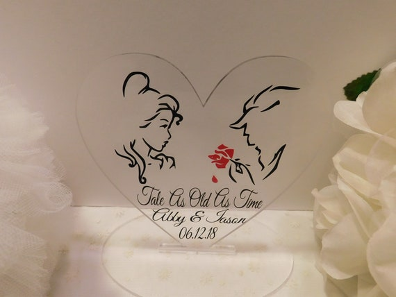 Beauty and the Beast wedding cake topper Disney wedding Tale as Old as Time