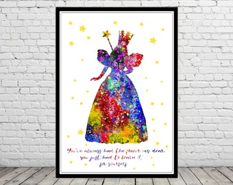 Glinda the good Witch inspired, Glinda, The Wizard Of Oz, Watercolor print, Kids Room Decor, Poster, print, watercolor Glinda, Glinda quote