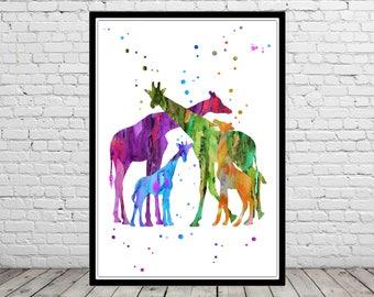 Giraffe family, Giraffe, watercolor giraffe, giraffes, safari, watercolor safari, watercolor giraffes, Giraffe art, nursery