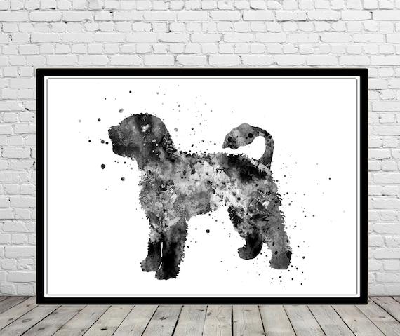 Portuguese Water Dog Original Art Print 8x10 Matted to 11x14