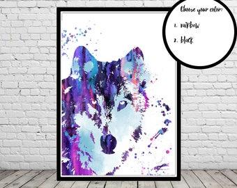 Wolf, Wolf print, wild animal, watercolor wolf, watercolor print, wolf print, watercolor wolf art, animal art, wolf head (4002b)