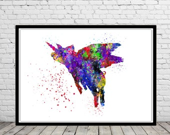 Pig unicorn, flying pig, pig, animal art, animal, when the pigs fly, watercolor pig, pig print, watercolor pig, kids room decor