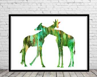 Giraffe, watercolor giraffe, giraffes, giraffes love, love print, home decor, watercolor giraffes, Giraffe art, animal art, nursery (3228b)