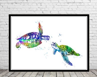 Sea turtle, turtle, watercolor art print, turtle print, home decor, watercolor turtle, animal art, turtle art, ocean art, sea print (4025b)