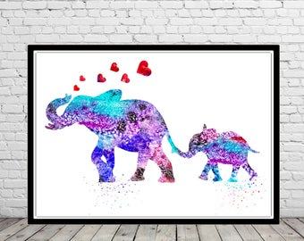 Elephant, Elephant family, watercolor elephant, watercolor art print, animal print, watercolor print elephant art, animal art(1650b)