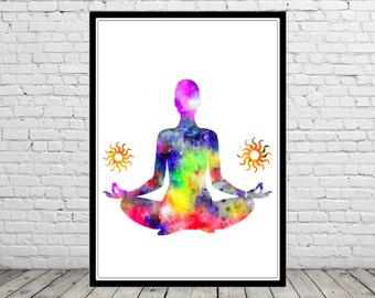 Yoga pose, sukhasana yoga pose, watercolor Yoga pose, Yoga pose print, Room Decor, Poster, sukhasana yoga pose print