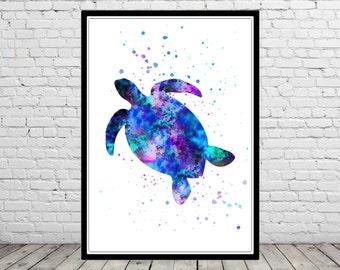Sea turtle, turtle, watercolor art print, animal print, home decor, watercolor turtle, animal art, turtle art, ocean art, sea print (2612b)