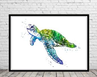 Sea turtle, turtle, watercolor art print, turtle print, home decor, watercolor turtle, animal art, turtle art, ocean art, sea print (4022b)