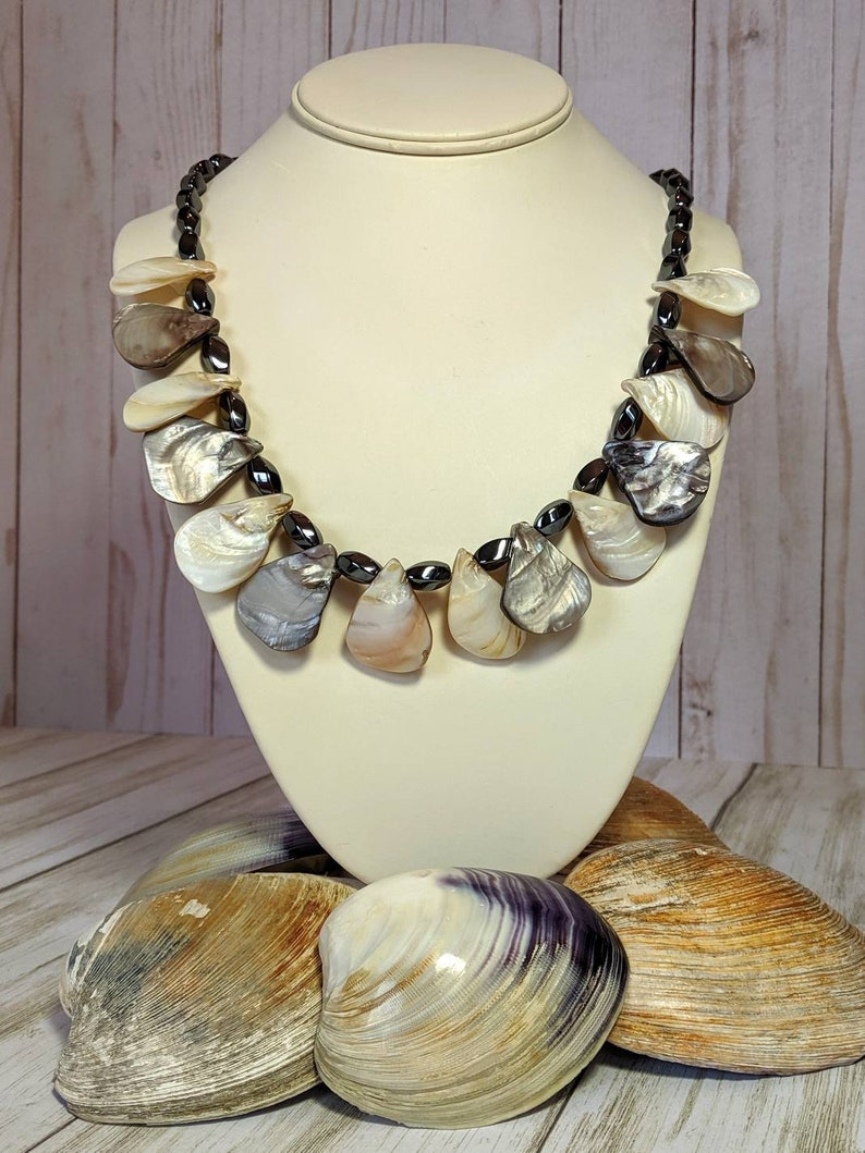 Mother of Pearl and Hematite Beaded Necklace N010