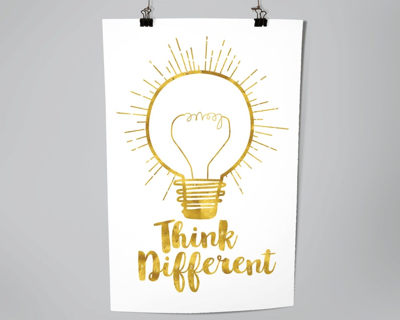 Inspirational Think Different Light Bulb Typography Poster image 0