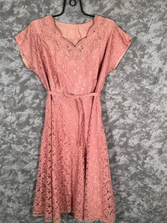 1950's Dusty Pink Lace Cocktail Dress