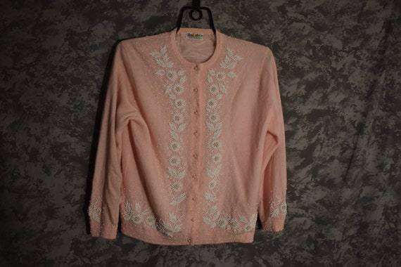 1950's Pink Beaded Cardigan Sweater
