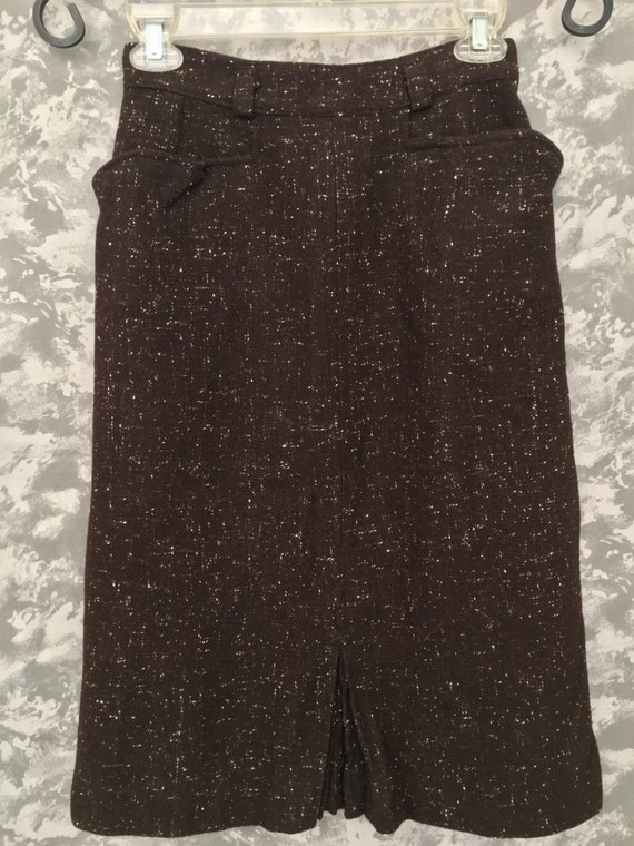 1950's Brown Wool Pencil Skirt (with pockets)