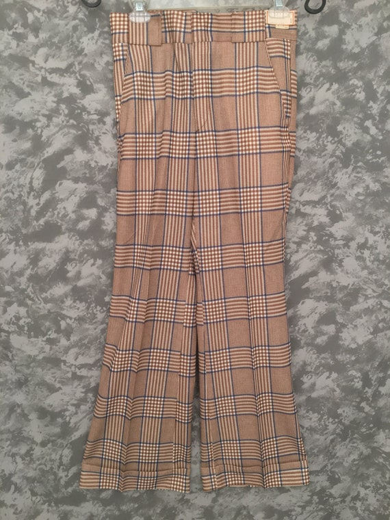 1970's Plaid Deadstock High-Waisted Disco Pants