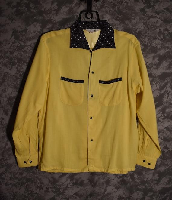 1950's Yellow & Polka Dot Shirt (Campus Label/Dead