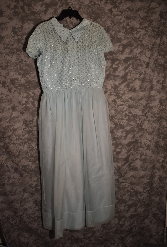 1950's Formal Blue Dress - Light Blue with Rhinest