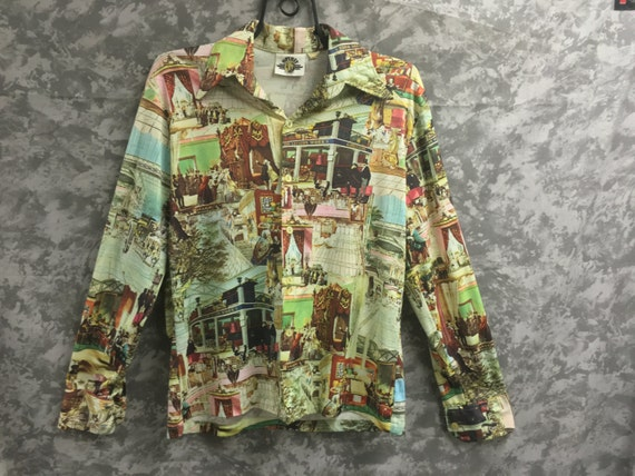 1970's Historical Photo Print Disco Shirt