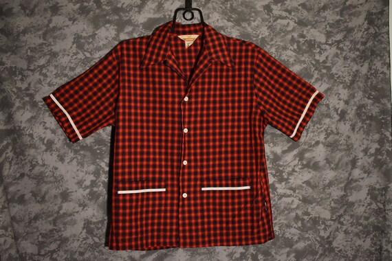 1950's Red Plaid Beach Shirt/Cabana Shirt (Jantzen
