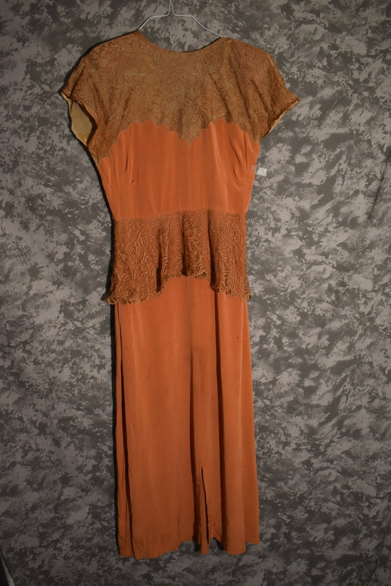 1940's Long Silk & Lace Gown - Prima Label