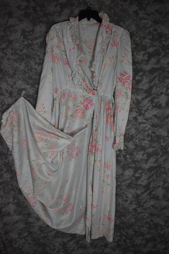 1940's Satin Floral Robe - image 5
