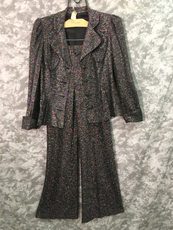 60's-70's Sparkly Jacket & Bell Bottoms Set