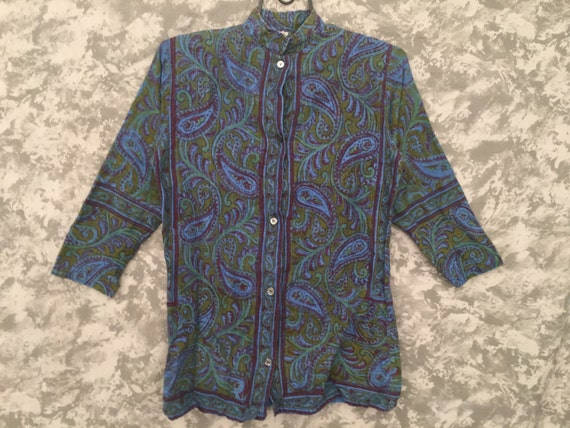 1960's Paisley Shirt w/ Nehru Collar