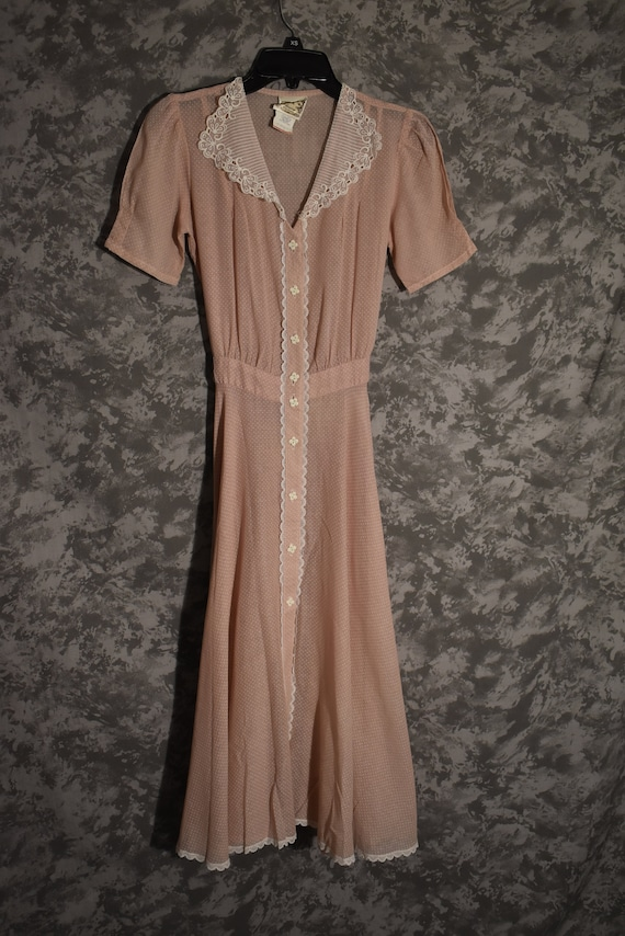 1970's Gunne Sax Sheer Pink Polka Dot Dress