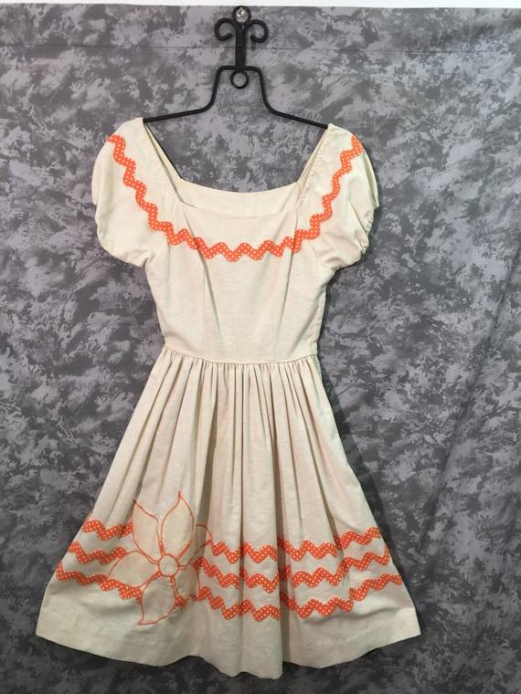 50's Vintage Orange & White Rockabilly Dress