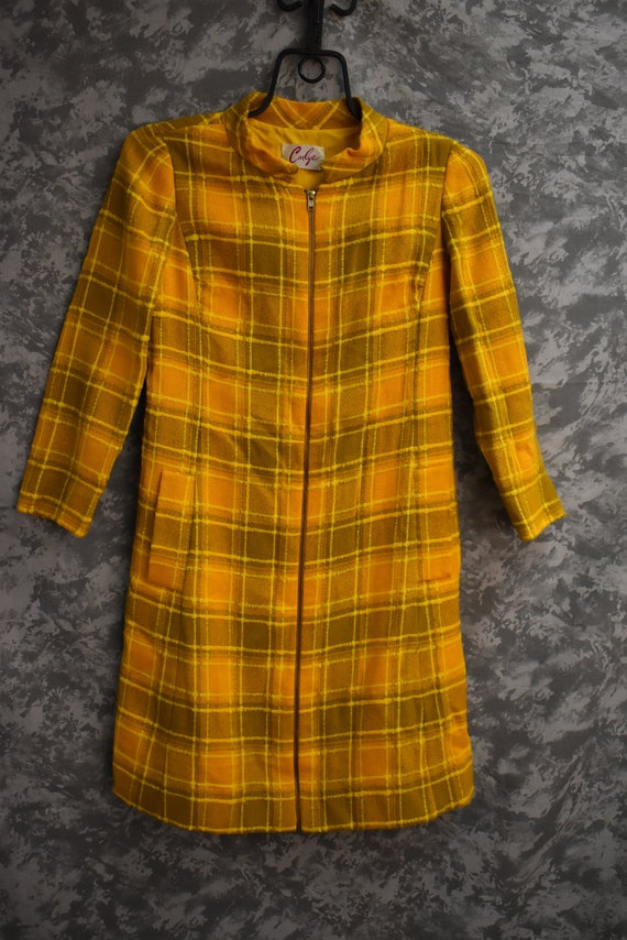 Early 1970's Plaid Zip Front Dress