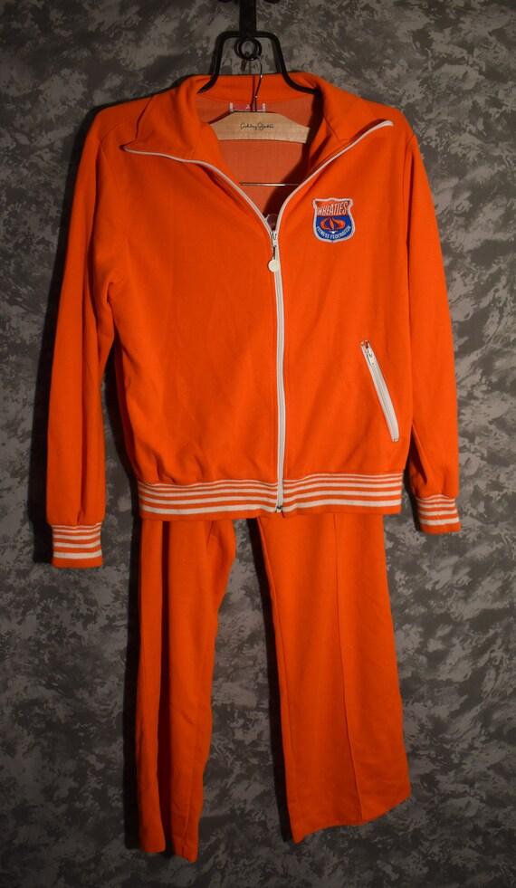 1970's Wheaties Men's Track Suit - Bright Orange
