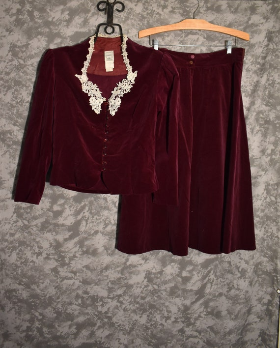 1970's Gunne Sax Velvet Skirt & Top Set